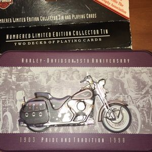 Harley-Davidson 95th Anniversary Tin with cards.